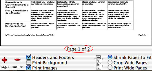 This is a picture of the Print Preview page.  At the bottom of the page it lists how many pages the rubric will print on.