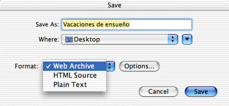 This is an image of the Save window.  The rubric is being saved as Dream_Vacation on the Desktop in the format of a Web Archive.